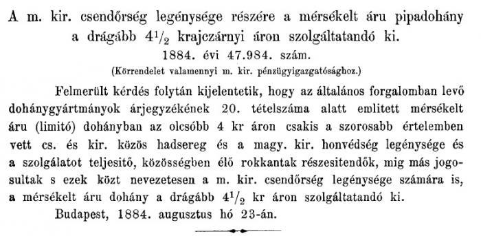 1884.09.01. Mérsékelt árú pipadohány