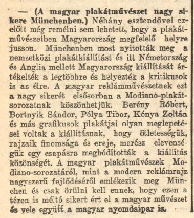 1929.09.11. Magyar plakátművészet