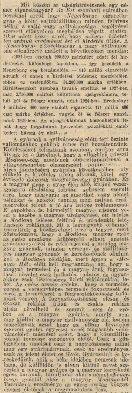 1928.10.07. Modiano-hirdetések