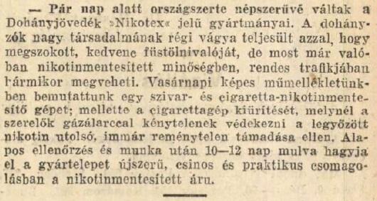 1930.10.21. Népszerű a Nikotex
