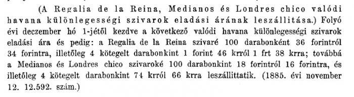 1885.11.19. Szivarok árleszállítása