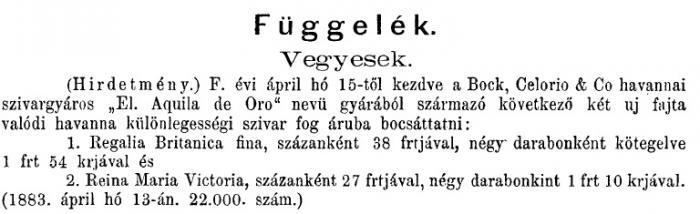 1883.05.01. Új Bock szivarok