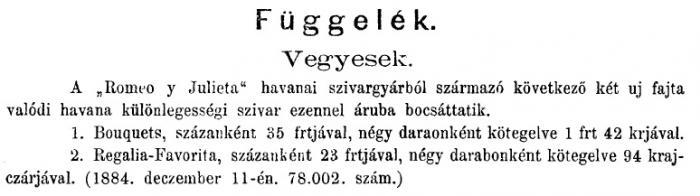 1884.12.20. Új havanai szivarok