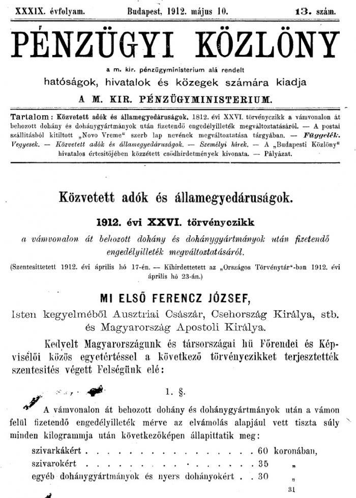 1912.05.10. Vámkezelés és tarifák