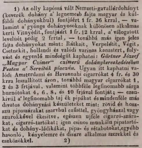 1835.05.16. Gärtner dohánykereskedés