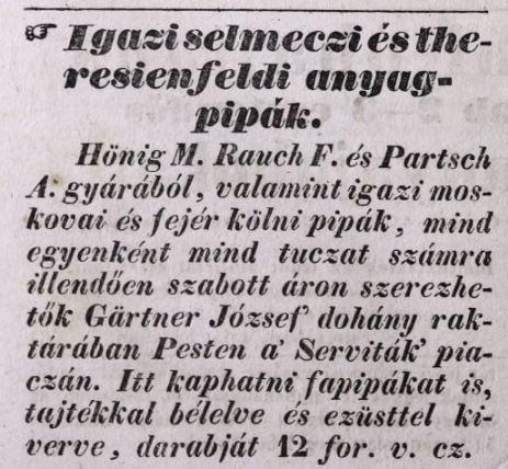 1837.02.01. Gärtner dohánykereskedés