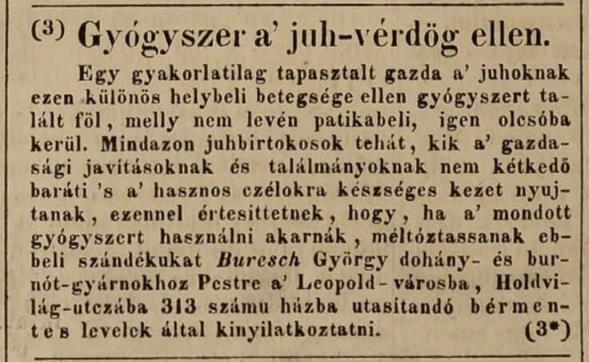1839.08.05. Buresch György dohánygyáros