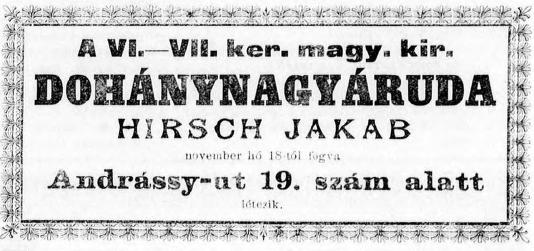 1893.12.01. Hirsch Jakab dohányárudája