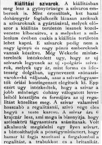 1895.11.20. Milleniumi szivarok