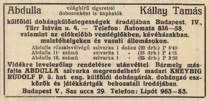 1928.08.12. Kállay Tamás dohányárudája