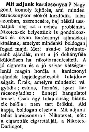 1935.12.15. Karácsonyra: Nikotex