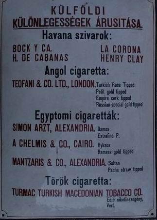 Dohány árlista