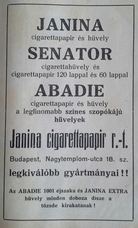 Janina Cigarettapapír Rt.