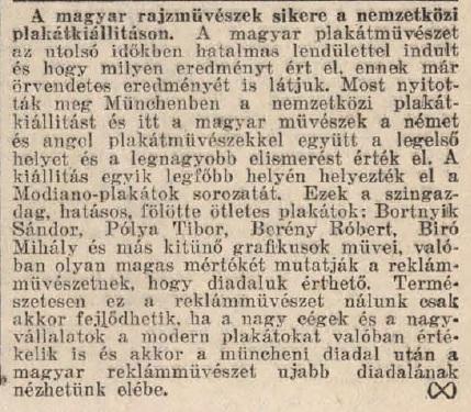 1929.09.11. Modiano plakátkiállítás