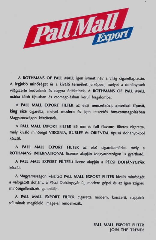 Pall Mall cigaretta 1.